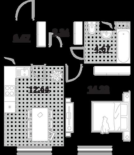 Апартаменты 1 комната, 40,25 кв.м