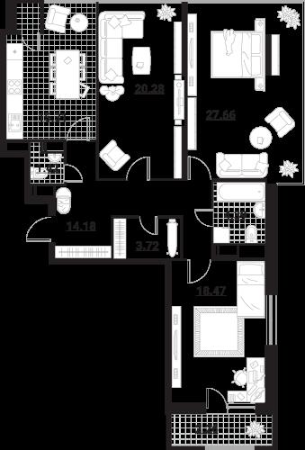 Квартира 3 комнаты, 107,69 кв.