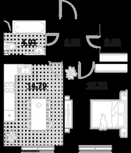 Апартаменты 1 комната, 43,43 кв.м