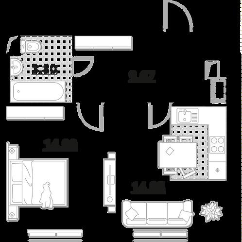 Апартаменты 1 комната, 43,32 кв.м