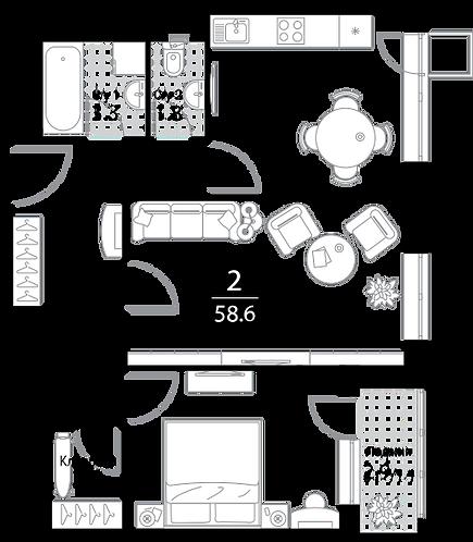 Квартира 2 комнаты, 58,6 кв.м