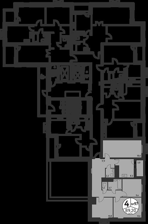 СЧ в Мневниках| Квартира 4 комнаты, 89,6 кв.м