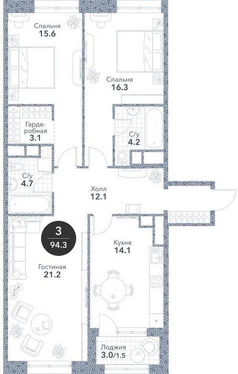 Квартира 3-комнаты, 92,80 кв.м