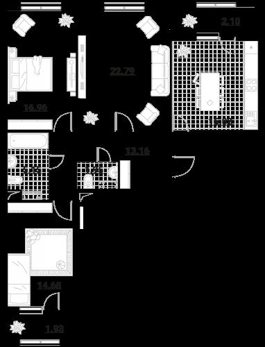 Квартира 3 комнаты, 94,74 кв.