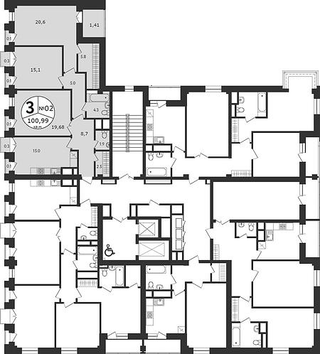 СЧ на Соколе| Квартира 3-комнаты, 101 кв.м