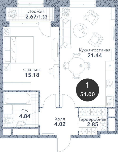 Апартаменты 1 комната, 51 кв.м