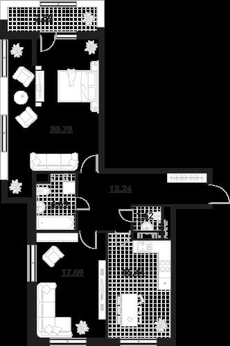 Квартира 2 комнаты, 86,05 кв.