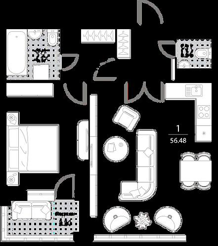 Апартаменты 1 комната, 56,48 кв.м