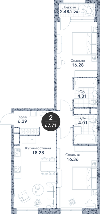 Апартаменты 2 комнаты, 67,71 кв.м