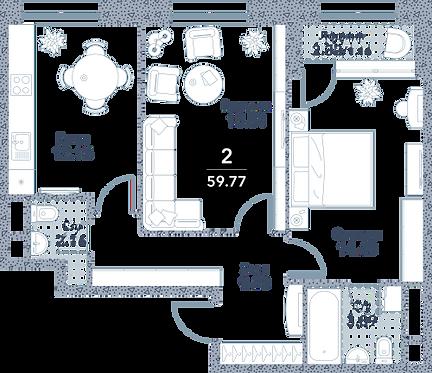 Апартаменты 2 комнаты, 59,77 кв.м