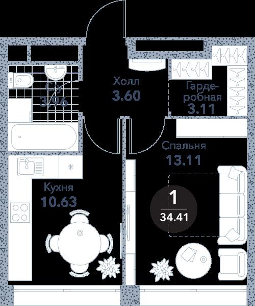 Апартаменты 1 комната, 34,41 кв.м