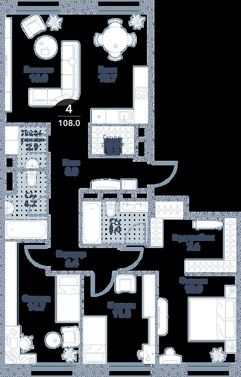 Квартира 4 комнаты, 108 кв.м