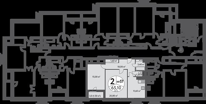 СЧ на Дмитровке| Квартира 2-комнаты, 65 кв.м