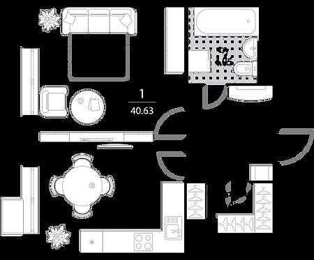 Апартаменты 1 комната, 40,63 кв.м