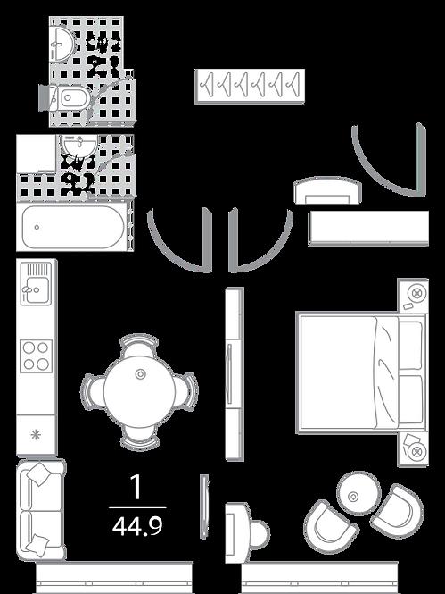 Апартаменты 1 комната, 44.9 кв.м