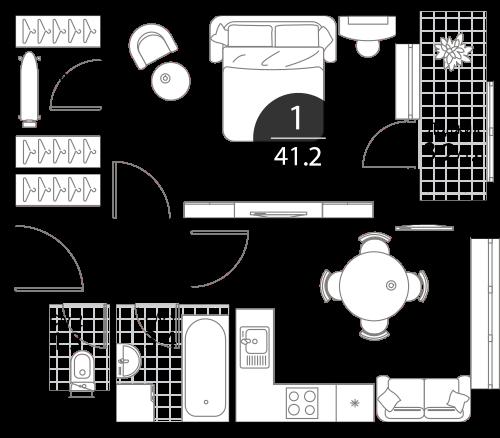 Квартира 1 комната, 41.2 кв.м