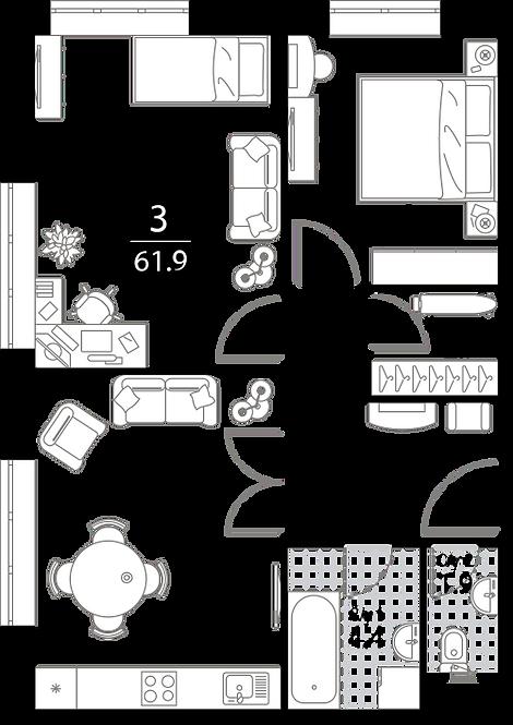 Апартаменты 2 комнаты, 61,9 кв.м