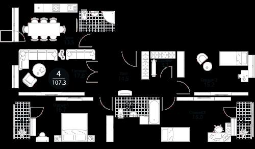 Квартира 4 комнаты, 107,3 кв.м