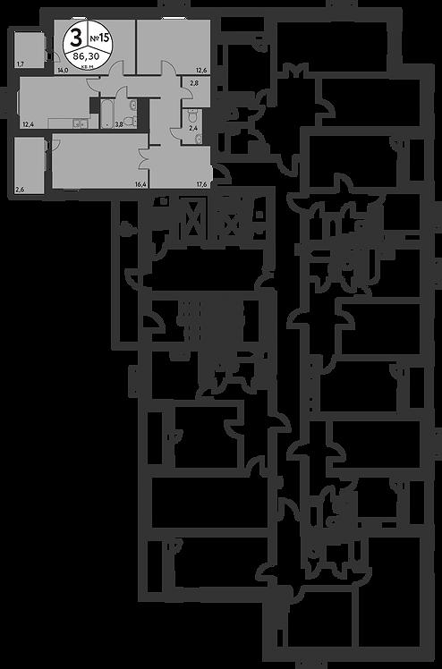 СЧ в Мневниках| Квартира 3 комнаты, 86,2 кв.м