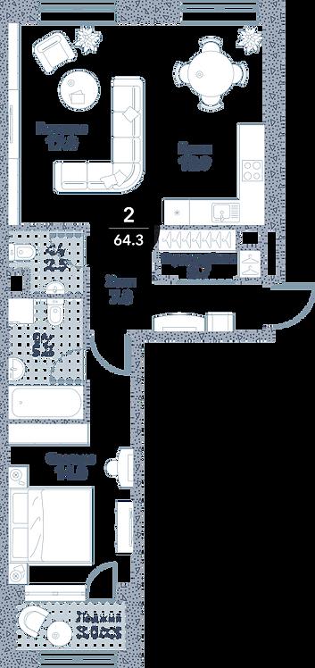 Квартира 2 комнаты, 62.8 кв.м