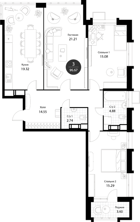 Апартаменты 3 комнаты, 96,67 кв.м