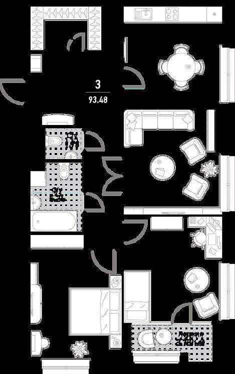 Эталон сити| Квартира 3-комнаты, 94,2 кв.м