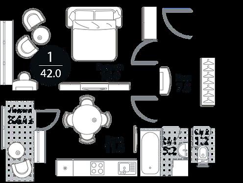 Квартира 1 комната, 42 кв.м