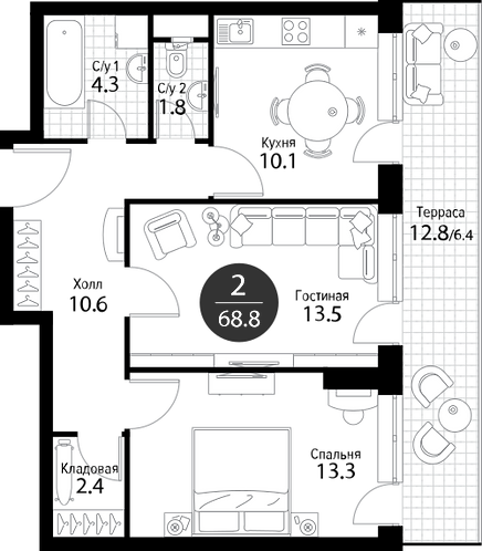 Апартаменты 2 комнаты, 68,8 кв.м