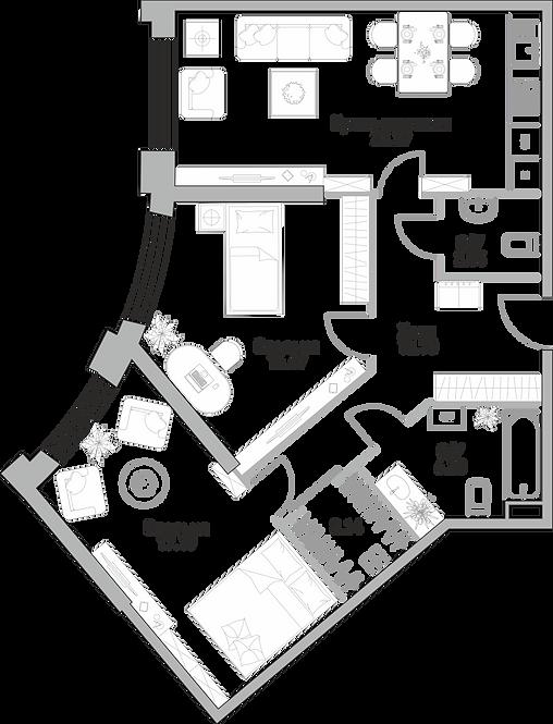 ЖК Крылья  2-х комнатня квартира 82.7 м