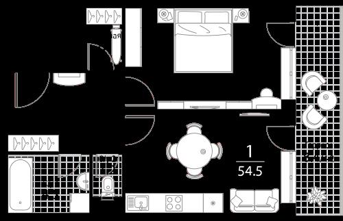Апартаменты 1 комната, 54.5 кв.м