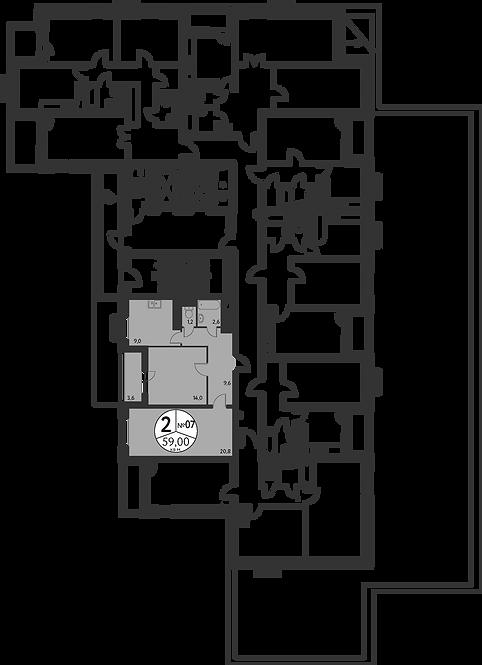 СЧ в Мневниках| Квартира 2 комнаты, 59,4 кв.м