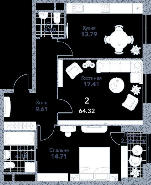 Апартаменты 2 комнаты, 64,32 кв.м