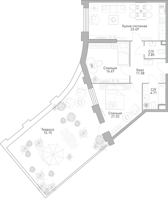 ЖК Крылья| Студия 83,42 метра
