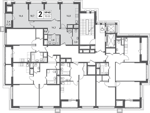 СЧ на Пресне| Квартира 2 комнаты, 70,5 кв.м
