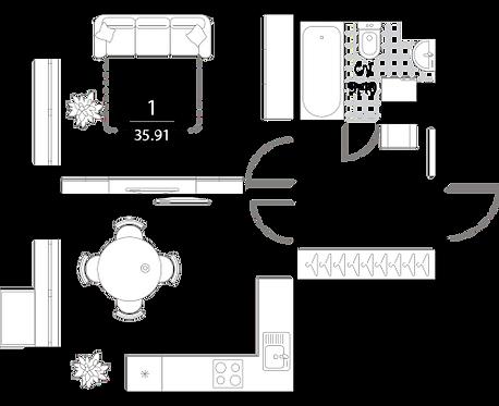 Апартаменты 1 комната, 35,91 кв.м