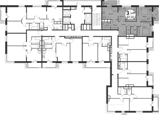 СЧ в Садовниках| Квартира 3 комнаты, 85.4 кв.м