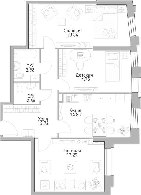 ЖК Крылья| 3-х комнатня квартира, 86,59 м