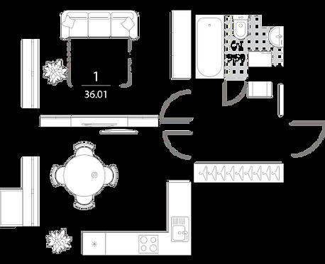 Апартаменты 1 комната, 36,01 кв.м