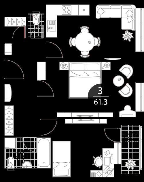 Квартира 3 комнаты, 61.3 кв.м