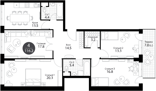 Апартаменты 4 комнаты, 116,2 кв.м