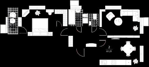 Апартаменты 2 комнаты, 61,21 кв.м