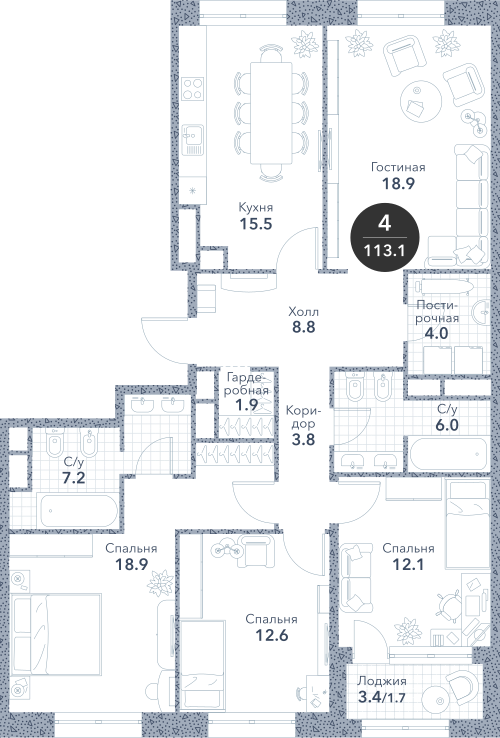 Квартира 4 комнаты, 111.4 кв.м