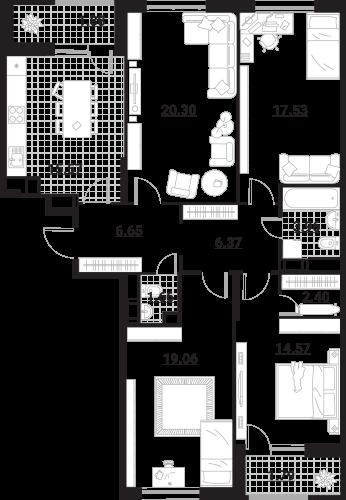 Квартира 4 комнаты, 111,74 кв.