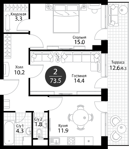 Апартаменты 2 комнаты, 73,5 кв.м