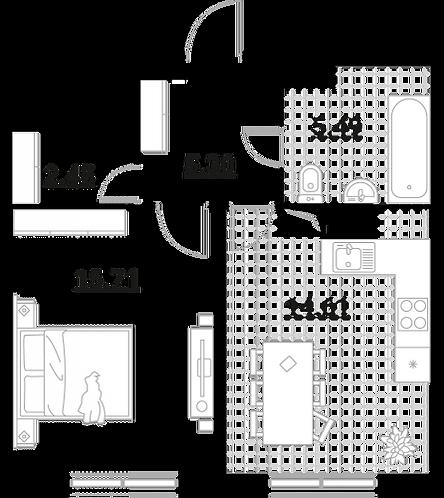 Апартаменты 1 комната, 43,56 кв.м