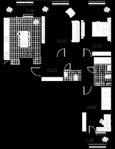 Квартира 3 комнаты, 94,96 кв.