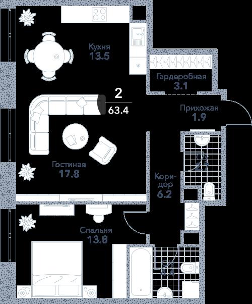 Квартира 2 комнаты, 63.4 кв.м