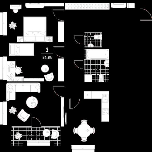 Эталон сити| Квартира 3-комнаты, 85,3 кв.м