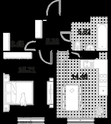 Апартаменты 1 комната, 43,26 кв.м