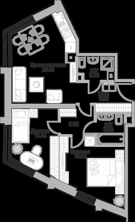 ЖК Крылья| Квартира 1 комната, 44.42 кв.м
